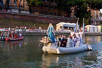 Roma 28 Luglio 2013<br />  I Solenni Festeggiamenti e la processione in onore della Madonna Fiumarola sul Tevere.<br />  The procession the Madonna fiumarola 'river Mary,' down Rome's Tiber river