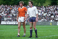 Fran McMahon, Armagh, left, Eamonn McAneaney, Monaghan, Rep of Ireland county footballers, GAA,  Armagh, N Ireland, 19850705FMM1..Copyright Image from Victor Patterson, 54 Dorchester Park, Belfast, UK, BT9 6RJ..Tel: +44 28 9066 1296.Mob: +44 7802 353836.Voicemail +44 20 8816 7153.Skype: victorpattersonbelfast.Email: victorpatterson@me.com.Email: victorpatterson@ireland.com (back-up)..IMPORTANT: If you wish to use this image or any other of my images please go to www.victorpatterson.com and click on the Terms & Conditions. Then contact me by email or phone with the reference number(s) of the image(s) concerned.