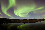 Aurora dance reflectin in the lake Þingvallavatn, in Þingvellir National Park, south-west Iceland