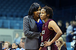 12 December 2012: NC Central head coach Vanessa Taylor talks to Aja Hoyle (4). The University of North Carolina Tar Heels played the North Carolina Central University Eagles at Carmichael Arena in Chapel Hill, North Carolina in an NCAA Division I Women's Basketball game. UNC won the game 49-21.