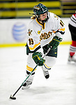 30 October 2009: University of Vermont Catamount defenseman Jackie Thode, a Senior from Aurora, CO, in action against the Northeastern University Huskies at Gutterson Fieldhouse in Burlington, Vermont. The Catamounts were shut out by the visiting Huskies 3-0. Mandatory Credit: Ed Wolfstein Photo