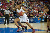 FRESNO, CA--Freshman Amber Orrange splits the defense during a 76-60 win over South Carolina at the Save Mart Center for the West Regionals semifinals of the 2012 NCAA Championships.