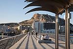 Santa Barbara Castle from the Harbour Wall Pier Promenade Walk in Alicante, Spain