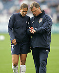 14 April 2007: United States midfielder Shannon Boxx (7) talks strategy with head coach Greg Ryan, pregame. The United States Women's National Team defeated the Women's National Team of Mexico 5-0 at Gillette Stadium in Foxboro, Massachusetts in an international friendly game.