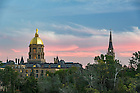 September 27, 2016; The Main Building and Basilica of the Sacred Heart at sunset.  (Photo by Barbara Johnston/University of Notre Dame)