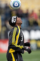 Mar 26, 2011; Columbus, OH, USA; Columbus Crew forward Jeff Cunningham (33) in warmups before their match against New York Red Bulls their match at Columbus Crew Stadium.