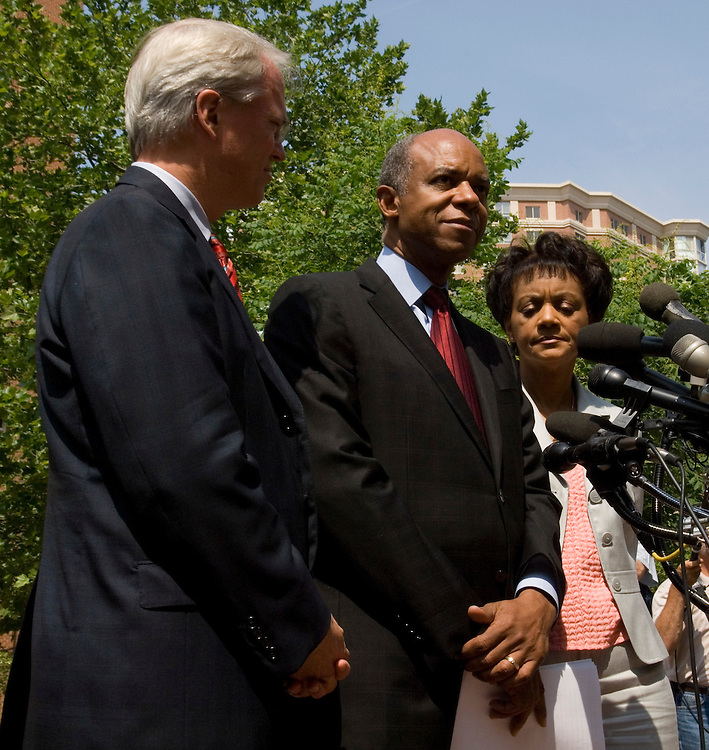 Indicted Rep. William Jefferson, D-La., center, flanked by attorney Robert Trout and his wife Andrea Green Jefferson speaks to the media outside of the U.S. District Court for the Eastern District of Virginia in Alexandria, Va., on Friday, June 8, 2007, following Jefferson's arraignment on federal corruption charges.