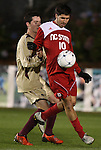 13 November 2009: NC State's Alan Sanchez (10) is defended by Boston College's Conor Fitzpatrick (behind). The North Carolina State University Wolfpack defeated the Boston College Eagles 1-0 at WakeMed Stadium in Cary, North Carolina in an Atlantic Coast Conference Men's Soccer Tournament Semifinal game.