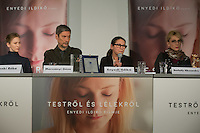 "Movie director Ildiko Enyedi (2nd R) of Hungary and mempers of the cast talk about their new Golden Bear winning movie ""On Body and Soul"" during a press conference in Budapest, Hungary on February 21, 2017. ATTILA VOLGYI"