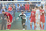 09 December 2012: Indiana's Luis Soffner (1) urges his defenders on in the last minute of the game. The Georgetown University Hoyas played the Indiana University Hoosiers at Regions Park Stadium in Hoover, Alabama in the 2012 NCAA Division I Men's Soccer College Cup Final. Indiana won the game 1-0.