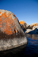 """Boulders on Lake Tahoe 18"" - These orange, black, and grey boulders were photographed in the early morning near Speedboat Beach, Lake Tahoe."