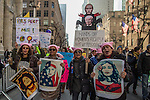 Women's March in New York Hundreds of Thousands Protest President Trump