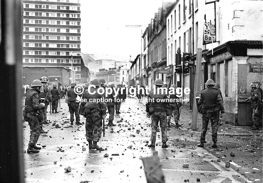 British Army soldiers under attack from rioters in Divis Street, Belfast, N Ireland. Ref: 19701031001.<br /> <br /> Copyright Image from Victor Patterson,<br /> 54 Dorchester Park, Belfast, UK, BT9 6RJ<br /> <br /> t: +44 28 90661296<br /> m: +44 7802 353836<br /> e1: victorpatterson@me.com<br /> e2: victorpatterson@gmail.com<br /> <br /> For my Terms and Conditions of Use go to<br /> www.victorpatterson.com