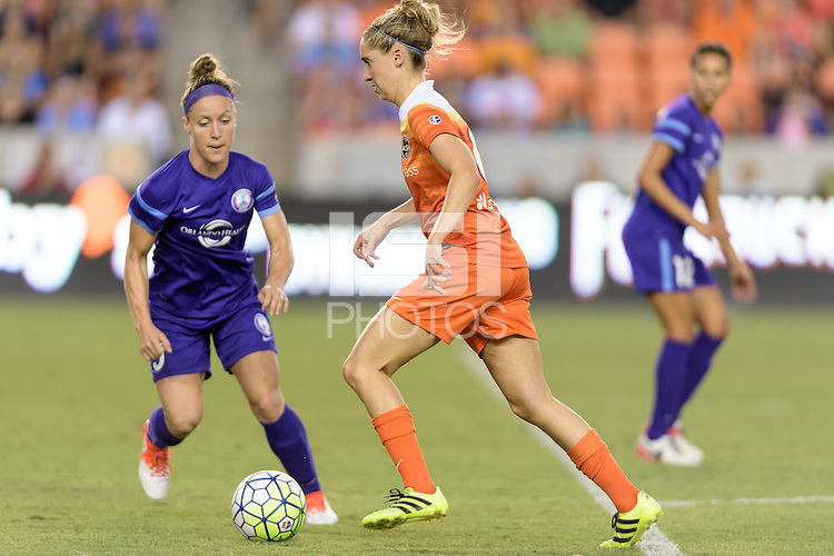 Houston, TX - Saturday Sept. 03, 2016: Josee Belanger, Morgan Brian during a regular season National Women's Soccer League (NWSL) match between the Houston Dash and the Orlando Pride at BBVA Compass Stadium.