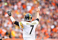 Ben Roethlisberger #7 of the Pittsburgh Steelers signals to his teammates against the Cincinnati Bengals during the game at Paul Brown Stadium on December 12, 2015 in Cincinnati, Ohio. (Photo by Jared Wickerham/DKPittsburghSports)