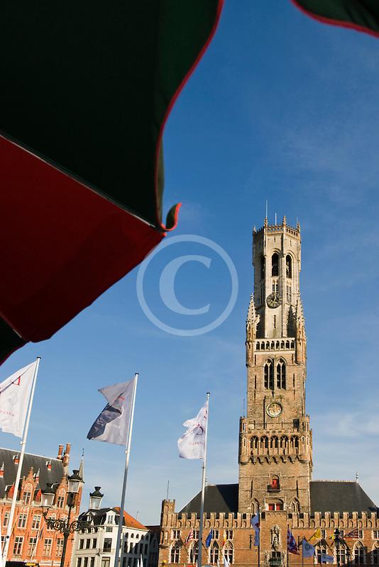 Belgium, Bruges, Market Square, Brugge Markt, with Belfry Tower