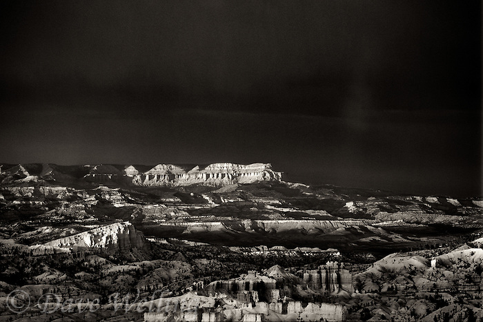 730750050bw a clearing summer storm over hoodoos and the distant aquarius plateau from sunset point in bryce canyon national park utah rendered in black and white