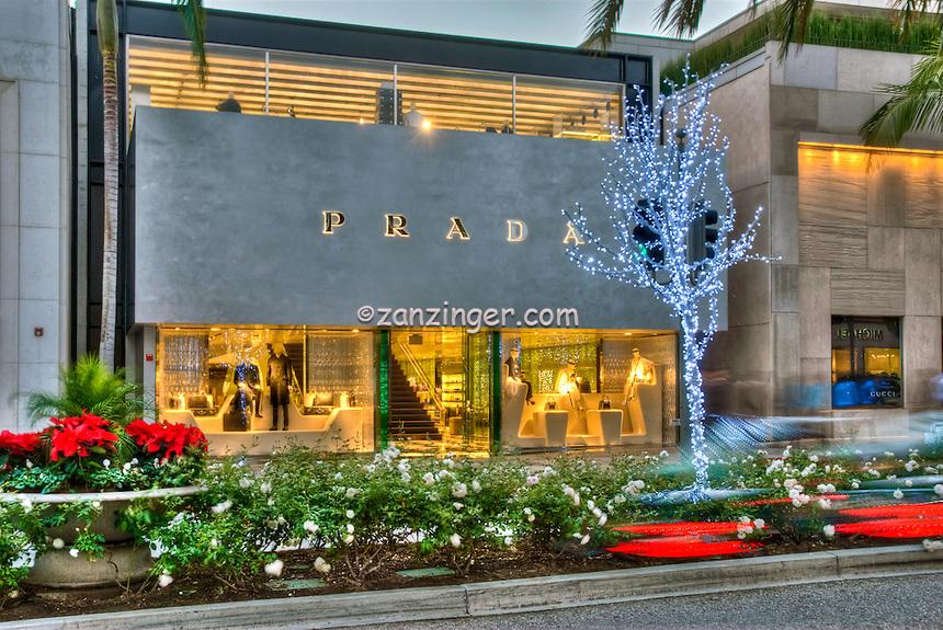 Prada Rodeo Drive, Window Fashion Display, Car Tail lights Streaking, Beverly Hills, CA,