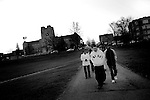 Students walk back to their dorms after going to viewing Norris Hall...VATech Shootings.Blacksburg Va.4/17/2007..photo: Hector Emanuel
