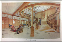 BNPS.co.uk (01202 558833)<br /> Pic: HAldridge/BNPS<br /> <br /> The main staircase.<br /> <br /> Incredibly rare illustrations and photos of the opulent surroundings of the Titanic have come to light in two brochures which describe the doomed ship as 'practically unsinkable.'<br /> <br /> The colour drawings depict the plush accommodation and facilities that first and second class passengers enjoyed on the luxury liner.<br /> <br /> They offer rare glimpses of the promenade deck, reading room, swimming baths, smoking room, main staircase, the Turkish bath, state room and parlour suit accommodation, dining room and reception room.<br /> <br /> Alongside the images there is an equally scarce copy of the sailing schedule for the doomed ship, highlighting its 'lost' trans-Atlantic service.<br /> <br /> The itinerary shows the Titanic would have gone on to make four trips from Southampton to New York between April to July 1912 had it not sunk on its maiden voyage with the loss of 1,522 lives.<br /> <br /> The two brochures and sailing schedule have now been put up for sale 105 years after the tragedy. They have a pre-sale estimate of a combined &pound;20,000.
