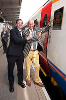 Pictured at the 175th Anniversary of Derby's Railways train naming event is Mark Coney of East Midlands Trains with Paul Atterbury of the Antiques Roadshow, who are currently filming in Derby