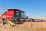 A Case 8120 combine harvests wheat in a field in Almira, Washington.
