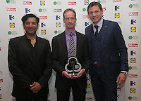 03/06/2014  <br />   David Carrie who recieved the Sporting Champion award from  Nitin Ganatra &amp; David Gillick<br /> during the Pride of Ireland awards at the Mansion House, Dublin.<br /> Photo: Gareth Chaney Collins