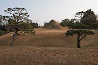 Suizen-ji garden, Kumamoto, Japan created in 1632 where a miniature Mount Fuji dominates the garden