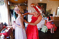 L-R Sophie Raper, Pia Andersen and Beccie Leathley are pictured at The 2012 Historic Houses Trust of NSW annual Fifties Fair at Rose Seidler House, Sydney. Picture James Horan