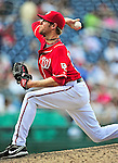 25 September 2010: Washington Nationals pitcher Collin Balester on the mound against the Atlanta Braves at Nationals Park in Washington, DC. The Braves shut out the Nationals 5-0 to even their 3-game series at one win apiece. The Braves' victory was the 2500th career win for skipper Bobby Cox. Cox will retire at the end of the 2010 season, crowning a 29-year managerial career. Mandatory Credit: Ed Wolfstein Photo