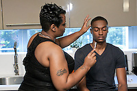 Backstage hair and make up preparation for the Francis Hendy Spring 2012 mens fashion show in the Samsung Experience, during New York Fashion Spring 2012, on September 8, 2012.