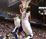 UK guard Archie Goodwin and UK forward Nerlens Noel block a shot during the first half of the men's basketball game vs. LSU at Rupp Arena, in Lexington, Ky., on Saturday, January 26, 2013. Photo by Genevieve Adams  | Staff.