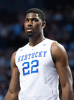 BROOKLYN, NY - Saturday December 19, 2015: Alex Poythress (#22) of Kentucky eyes the Ohio State defense as the two teams square off in the CBS Classic at Barclays Center in Brooklyn, NY.