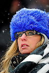 3 January 2010: A Buffalo Bills fan watches a game against the Indianapolis Colts on a cold, snowy, final game of the season at Ralph Wilson Stadium in Orchard Park, New York. The Bills defeated the Colts 30-7. Mandatory Credit: Ed Wolfstein Photo