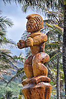 A carved wooden tiki outside Polynesian Cultural Center, La'ie, O'ahu.
