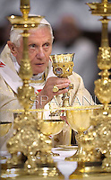 Pope Benedict XVI washes 12 priests' feet during the evening mass commemorating Jesus' last supper with his 12 apostles on the evening before his Good Friday crucifixion at St Giovanni in Laterano Basilica in Rome, Italy on 5 April 2012.