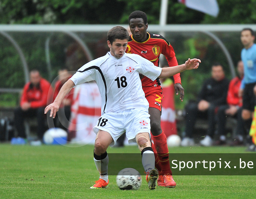 Georgia U19 - Belgium U19 : Luka Zarandia (18) and David Iboma (2)<br /> foto DAVID CATRY / Nikonpro.be