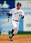 12 July 2009: Vermont Lake Monsters' second baseman Jeffrey Kobernus slides safely into third during the first game of their double-header against the Lowell Spinners at Historic Centennial Field in Burlington, Vermont. The teams split the two games with the Spinners taking the first game 4-0 and the Lake Monsters winning 3-1 in the nightcap. Mandatory Photo Credit: Ed Wolfstein Photo