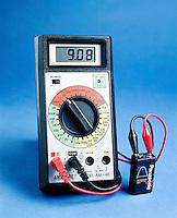 DIGITAL MULTIMETER<br /> Used as Voltmeter<br /> Testing 9 volt rechargeable battery.