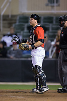 Kannapolis Intimidators catcher Nate Nolan (22) on defense against the Lakewood BlueClaws at Kannapolis Intimidators Stadium on April 8, 2017 in Kannapolis, North Carolina.  The BlueClaws defeated the Intimidators 8-4 in 10 innings.  (Brian Westerholt/Four Seam Images)