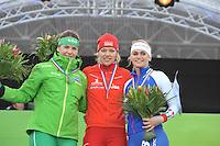 SCHAATSEN: AMSTERDAM: Olympisch Stadion, 02-03-2014, KPN NK Sprint/Allround, Coolste Baan van Nederland, podium Dames Allround 5000m, Diane Valkenburg, Yvonne Nauta, Irene Schouten, ©foto Martin de Jong