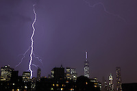 Lightning from a heavy thunderstorm over Manhattan on July 23, 2014