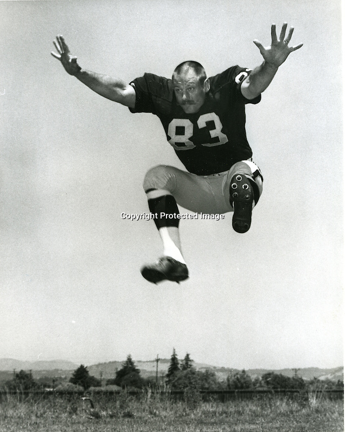 Oakland Raiders defensive end Ben Davidson at the Santa Rosa training camp. (July 15,1968) Photo by Ron Riesterer/Photoshelter.