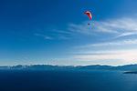 Paragliding over Lake Tahoe, California