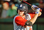 18 August 2012: Brooklyn Cyclones outfielder Brandon Nimmo awaits leading off the game against the Vermont Lake Monsters at Centennial Field in Burlington, Vermont. The Lake Monsters defeated the Cyclones 4-1 in NY Penn League action. Mandatory Credit: Ed Wolfstein Photo
