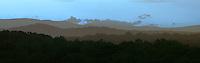 Mountain range at sunset near the Blue Ridge Mountains.