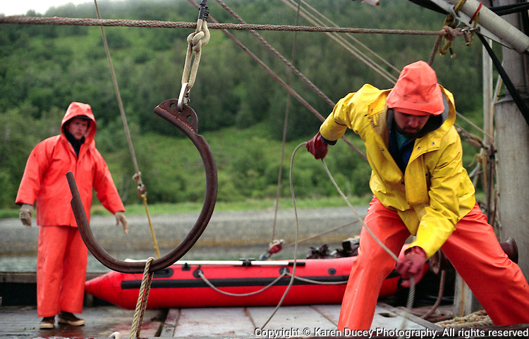 Test fishing aboard the Lisa Gayle, Aug 1989 Kodiak, Alaska