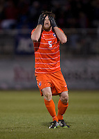 Thomas McNamara (5) of Clemson reacts to his missed shot on goal during the ACC tournament semifinals at the Maryland SoccerPlex in Boyds, MD.  Maryland defeated Clemson, 1-0, in overtime.