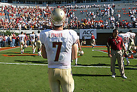 Oct 2, 2010; Charlottesville, VA, USA; Florida State Seminoles quarterback Christian Ponder (7) walks off the field after defeating the Virginia Cavaliers 34-14  at Scott Stadium.  Mandatory Credit: Andrew Shurtleff-