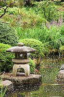 Stone lantern at the Japanese garden at the Minnesota Landscape Arboretum.